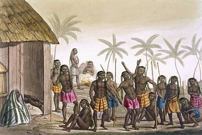 African Huts Drawing - Native Funeral Service Near Luanda by Felice Campi