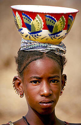 Gold Earrings Photograph - Native Girl In Niger by Carl Purcell