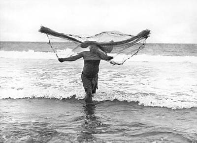 Obscured Face Photograph - Native Hawaiian Fisherman by Underwood Archives