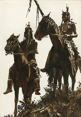 Indian Warrior Painting - Two Indians Horseback by Don  Langeneckert