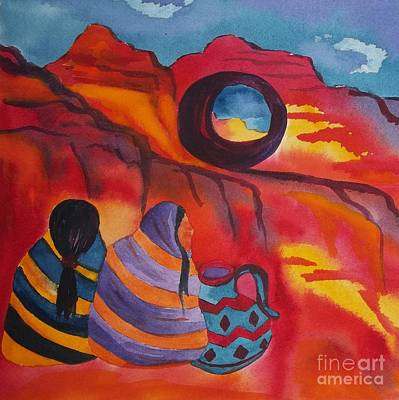 American Pottery Painting - Native Women At Window Rock Square by Ellen Levinson
