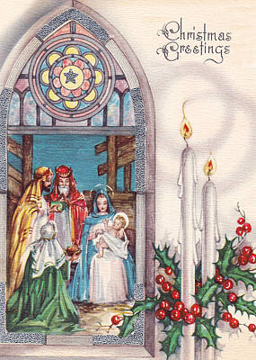 Nativity And Candles Print by Munir Alawi