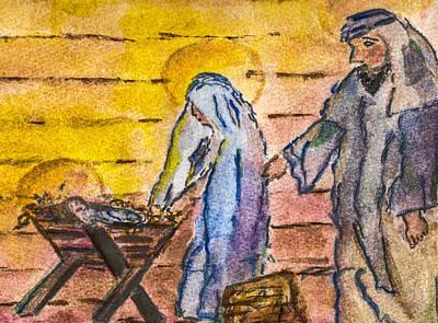 Nativity Painting - Nativity by Elizabeth Briggs