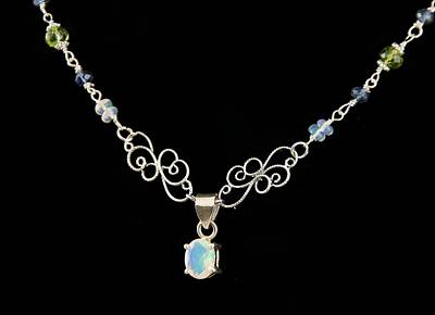 Sterling Silver Photograph - Natural 7 Carat Ethiopian Opal Pendant On Opal Peridot And Iolite Argentium Sterling Silver Necklace by WDM Gallery