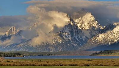 Teton Mountain Range In Clouds Print by Dan Sproul