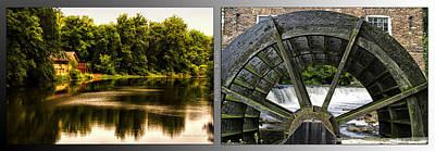 Nature Center 01 Grist Mill Wheel Fullersburg Woods 2 Panel Print by Thomas Woolworth