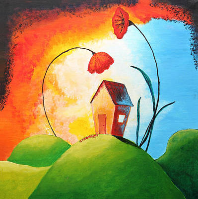Poppies Drawing - Nature Spills Colour On My House by Nirdesha Munasinghe