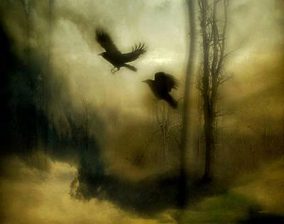 Corvid Digital Art - Nature's Blur by Gothicolors Donna Snyder