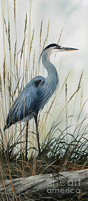 Great Blue Heron Painting - Natures Gentle Stillness by James Williamson