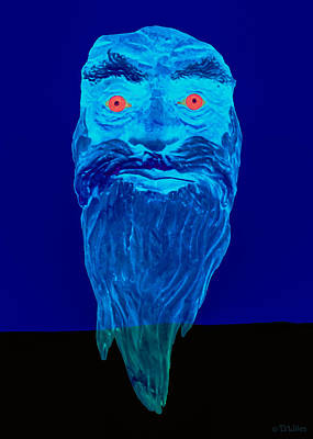 Buzzard Mixed Media - Naughty Blue Ghost by David Wiles