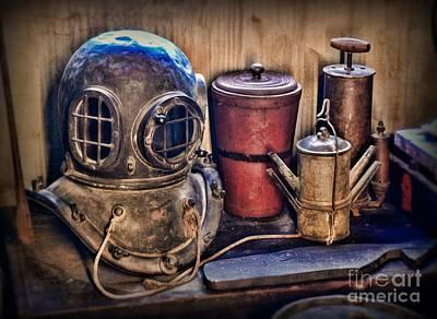 Diving Helmet Photograph - Nautical - Antique Dive Helmet by Paul Ward