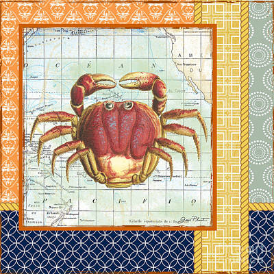 Nautical Journey-crab Print by Jean Plout