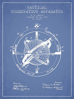 Global Digital Art - Nautical Observation Apparatus Patent From 1895 - Light Blue by Aged Pixel