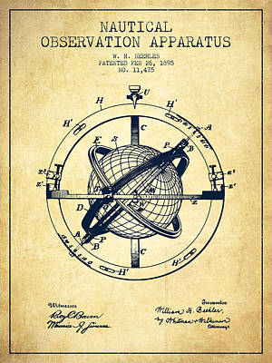 Nautical Observation Apparatus Patent From 1895 - Vintage Print by Aged Pixel