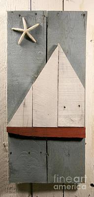 Wood Pallet Flag Sculpture - Nautical Wood Art 01 by John Turek