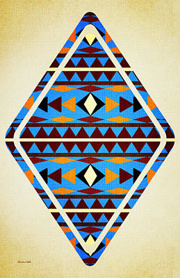 Tribal Mixed Media - Navajo Blue Pattern Aged by Christina Rollo