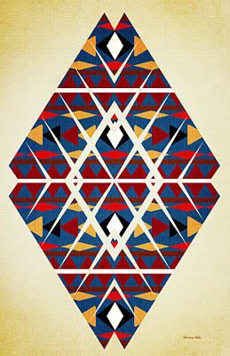 Mixed Media - Navajo Navy Pattern Aged by Christina Rollo