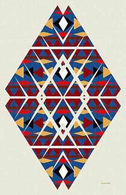 Mixed Media - Navajo Navy Pattern Art by Christina Rollo