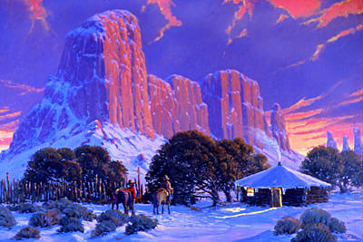 Sagebrush Painting - Navajo Sunset by Randy Follis