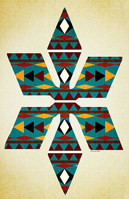 Mixed Media - Navajo Teal Pattern Aged by Christina Rollo