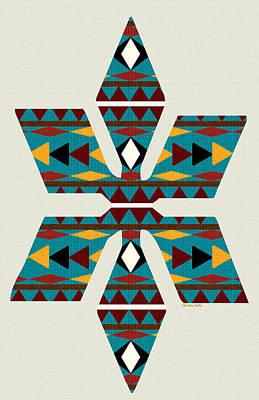 Mixed Media - Navajo Teal Pattern Art by Christina Rollo