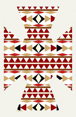 Navajo White Pattern Art Print by Christina Rollo