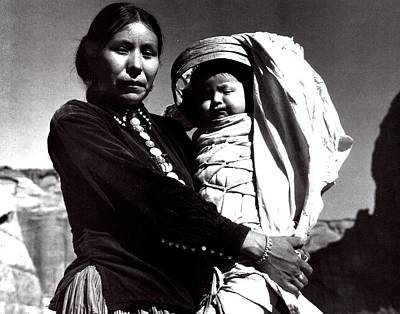 Native American Woman Digital Art - Navajo Woman With Infant by Ansel Adams