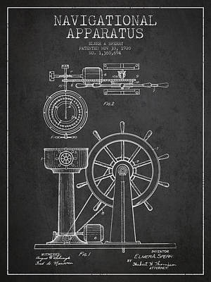 Navigational Apparatus Patent Drawing From 1920 - Dark Print by Aged Pixel