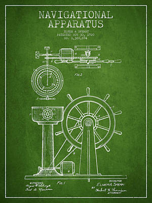Navigational Apparatus Patent Drawing From 1920 - Green Print by Aged Pixel