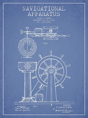 Navigational Apparatus Patent Drawing From 1920 - Light Blue Print by Aged Pixel
