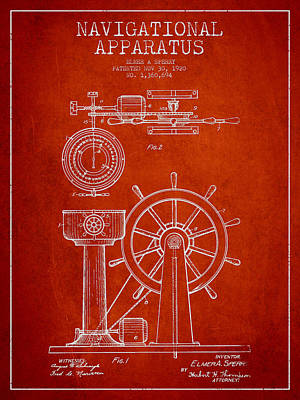 Navigational Apparatus Patent Drawing From 1920 - Red Print by Aged Pixel