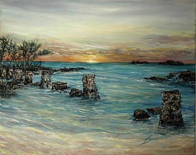 Docking Painting - Navy Beach Seaside Sunset by Barbara Dalton