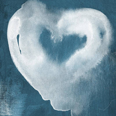 Navy Blue And White Love Print by Linda Woods