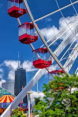 Hancock Painting - Navy Pier Ferris Wheel by Christopher Arndt