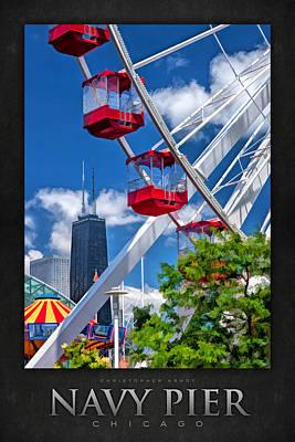 Hancock Painting - Navy Pier Ferris Wheel Poster by Christopher Arndt