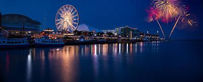 Ferris Wheel Night Photograph - Navy Pier Fireworks Chicago I L by Steve Gadomski