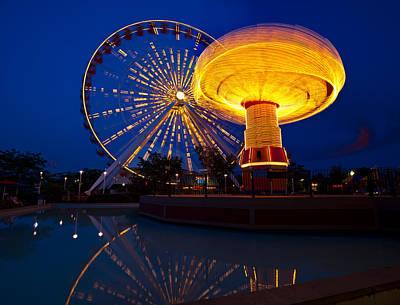 Ferris Wheel Night Photograph - Navy Pier Nights Chicago by Steve Gadomski