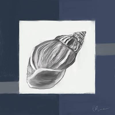 Cafes Painting - Navy Seashells I-navy And Gray Art by Lourry Legarde