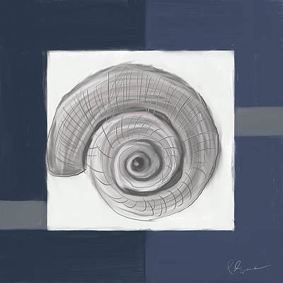 Cafes Painting - Navy Seashells II - Navy And Gray Art by Lourry Legarde