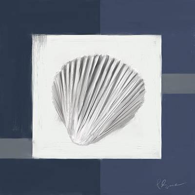 Cafes Painting - Navy Seashells V - Navy And Gray Art by Lourry Legarde
