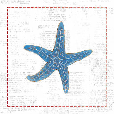 Starfish Painting - Navy Starfish On Newsprint With Red by Emily Adams