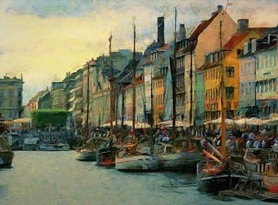 Denmark Painting - Nayhavn Street by Jeff Kolker