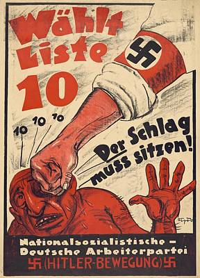 Nazi Party Photograph - Nazi Party Anti-semitic Poster by Everett