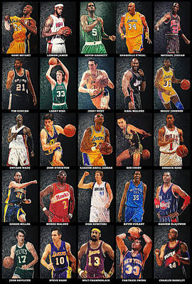 Nba Legends Print by Taylan Apukovska