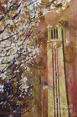 Fluid Painting - Ncsu Bell Tower by Ryan Fox