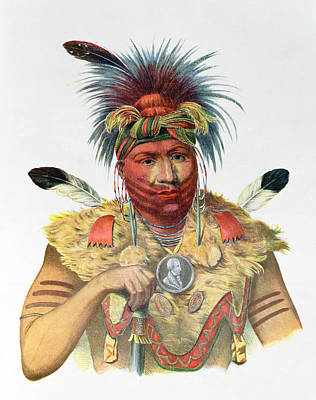 Jewellery Photograph - Ne-sou-a-quoit, A Fox Chief, Illustration From The Indian Tribes Of North America, By Thomas L by Charles Bird King