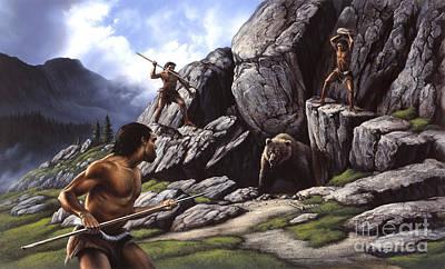 Aggression Digital Art - Neanderthals Hunt A Cave Bear by Jerry LoFaro