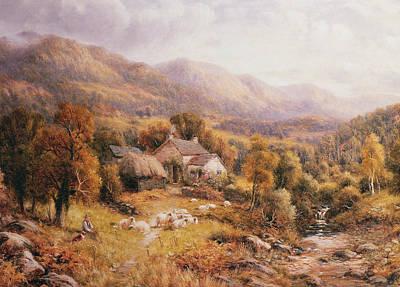 Mountain Stream Painting - Near Bettws, North Wales  by Robert John Hammond