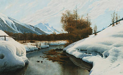Edge Painting - Near La Punt St Morritz In The Engadine Valley by Peder Monsted