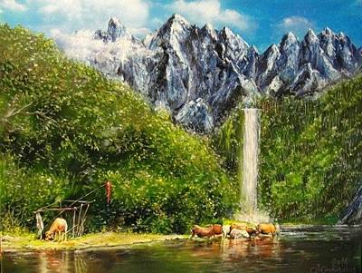 Nearby The Great Waterfall Original by Sergey Selivanov